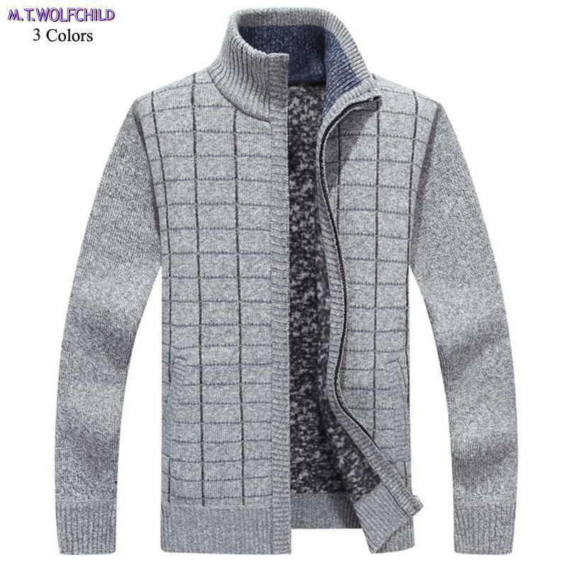 Mens sweaters New long sleeve mens stand-collar Cashmere thick knitted sweaters casual mens plaid knitted coats fashion mens 3XL