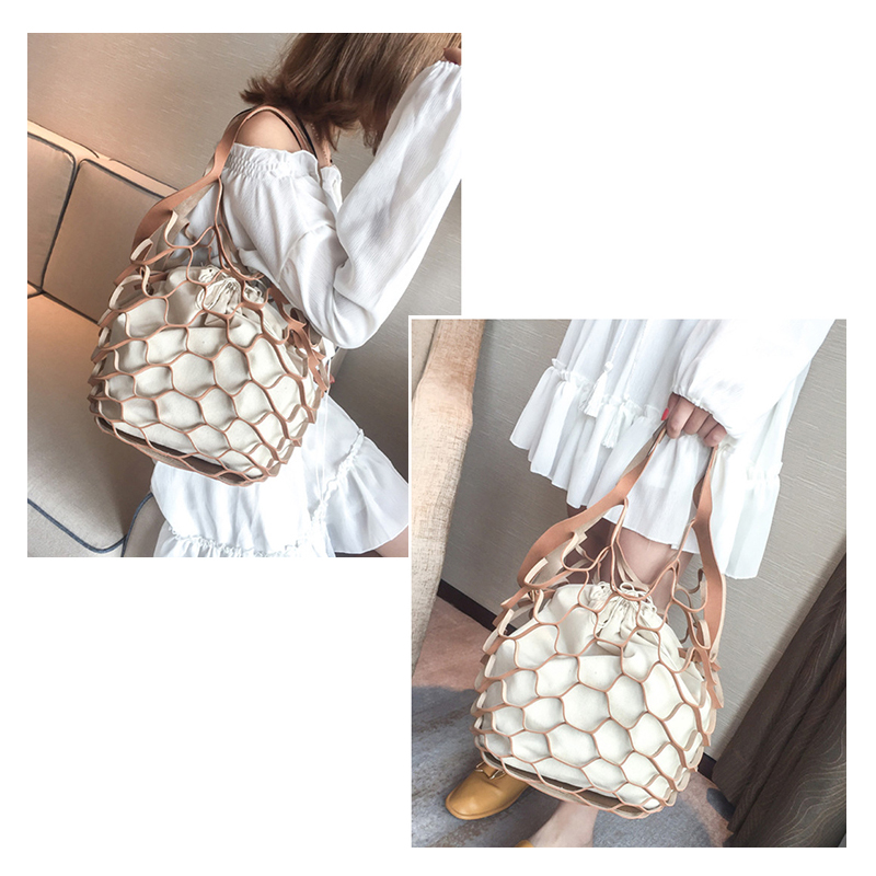 Bucket Bag Hollow PU Leather Women Handbag Leisure Beach Plaid Net Shoulder Bags Multi Use For Girl