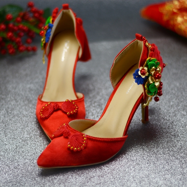 Wedding Shoes Chinese Style Bride Shoes Woman Silk Red Green Blue Flowers  Tassels Vintage High Heels Women s Pumps Embroider 60a92a39a67e