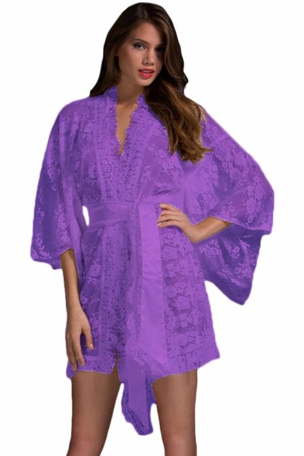 Purple-Belted-Lace-Kimono-Nightwear-LC21998-4-1