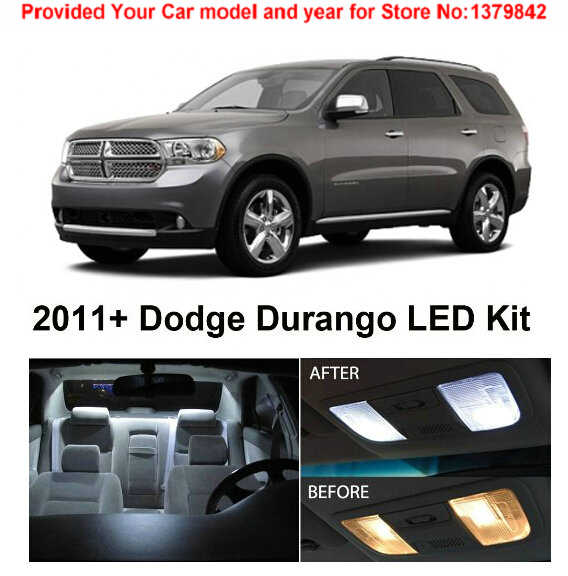 Free Shipping 6pc LED Lights car-styling Hi-Q Interior Package Kit For Dodge Durango 2011 & Up