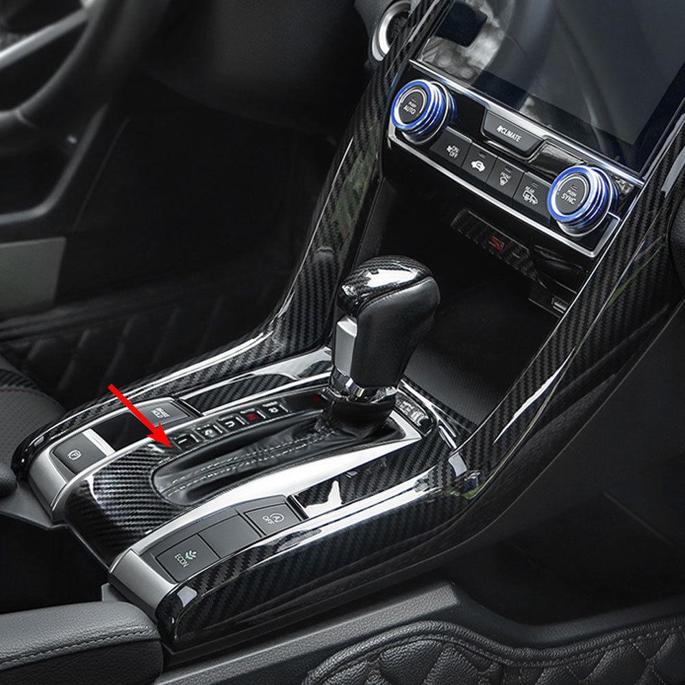 New For Honda Civic 10th 16-18 Carbon Fiber ABS Gear Shift Box Panel Cover Trim