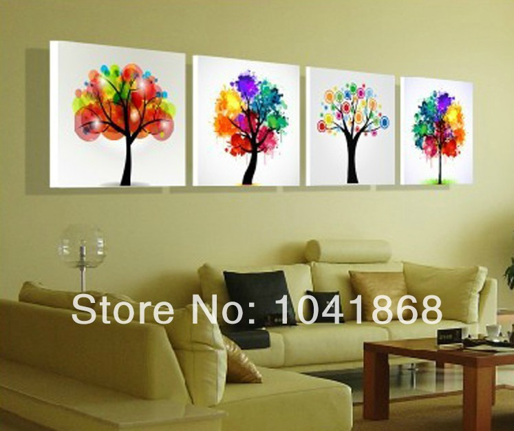 Top Home Decoration Modern Frameless Wishing Tree Feng Shui Pictures Oil Painting On Canvas Wall For Living Room In Calligraphy From