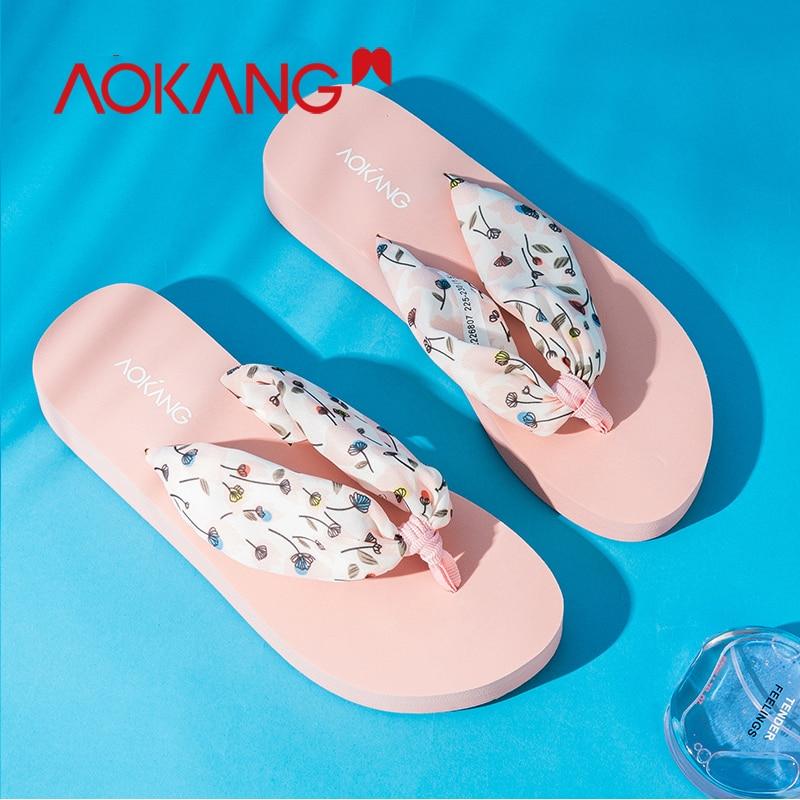 Flip Flops La 9832226808 Marca Las 9832226807 Sandalias Aokang Casual Planos Mujer Plana Nueva Playa De Mujeres Floral Zapatillas Zapatos Z7ZOET6n
