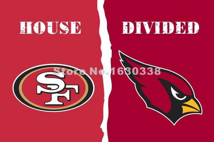 San Francisco 49ers Arizona Cardinals House Divided Flag 3ft X 5ft Polyester NFL1 Banner Size No.4 144*96cm Custom Flag