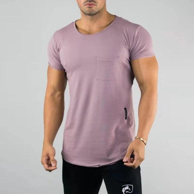 Summer Mens Casual TShirt Crossfit Fitness Bodybuilding Short Sleeve Male Pocket Scoop Neck Shirts 2019 Cotton Minimal Tee men