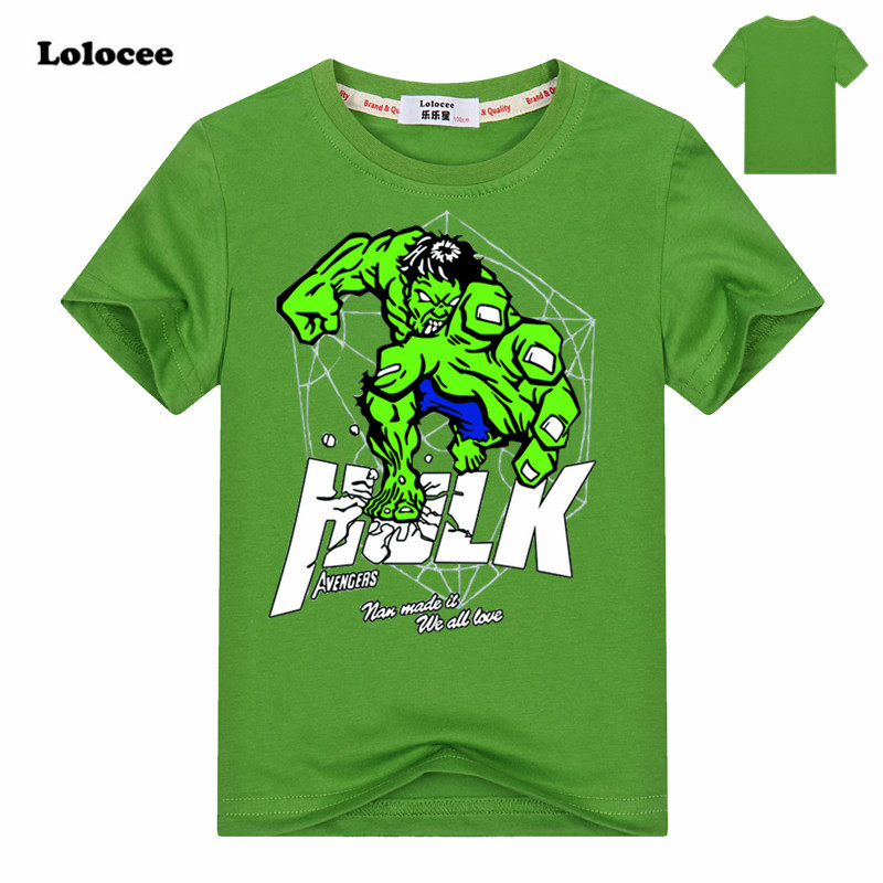 The Captain America and Hulk Pattern T-shirt boys clothing Short Sleeve Cotton Avengers boys clothes children t shirts 3-14Y boys children s clothing muscle super hero captain america costume spiderman batman hulk avengers new cosplay children pajamas