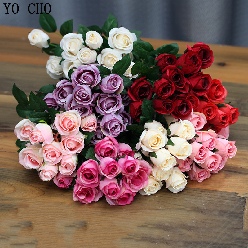 Yo Cho Display Flower Bouquets Small Rose Bud Artificial Silk Flower Bunch Wedding Home Decoration Fake Flower White Rose Indoor Artificial Dried Flowers Aliexpress