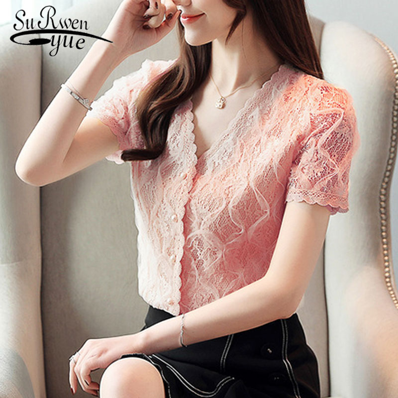 2019 ladies tops Fashion Women's Clothing Wild Perspective Small Shawl Chiffon Lace  Lacing Boleros shirts tops 802E 30