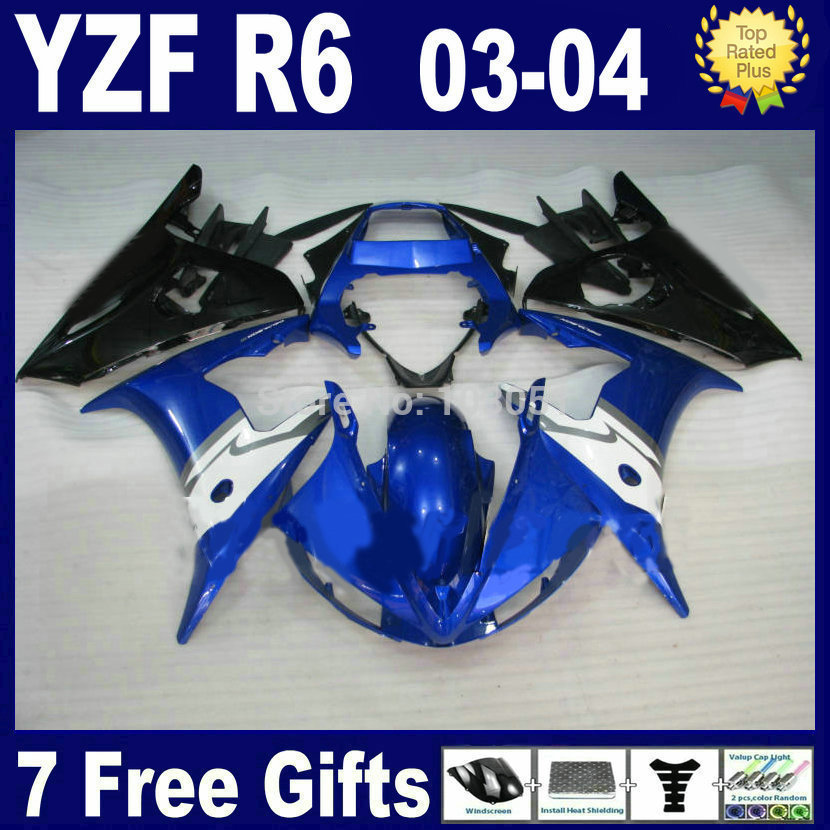 Custom motorcycle Road fairing kits For Yamaha 03 04 05 YZFR6 blue black plastics YZF R6 2003 2004  aftermarket Fairings parts k mfs motor motorcycle part front rear brake discs rotor for yamaha yzf r6 2003 2004 2005 yzfr6 03 04 05 gold