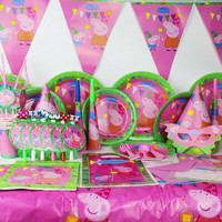 90 Pcs Disposable Kids Event Birthday Party Tableware Plate Pennant Napkins Set Pig Pig Theme Party