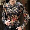 2016 Ropa de Impresión Para hombre Vestido de Lujo Camisas de Esmoquin de Seda Dragon Royal Blue Mens Tuxedo Slim Fit Chemise Homme Marca Luxe