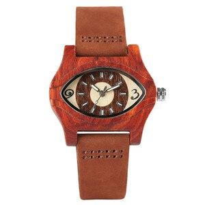 Image 2 - Женские часы с деревянными браслетами, женские этнические винтажные кварцевые часы из натуральной кожи, женские мужские наручные часы из бамбука