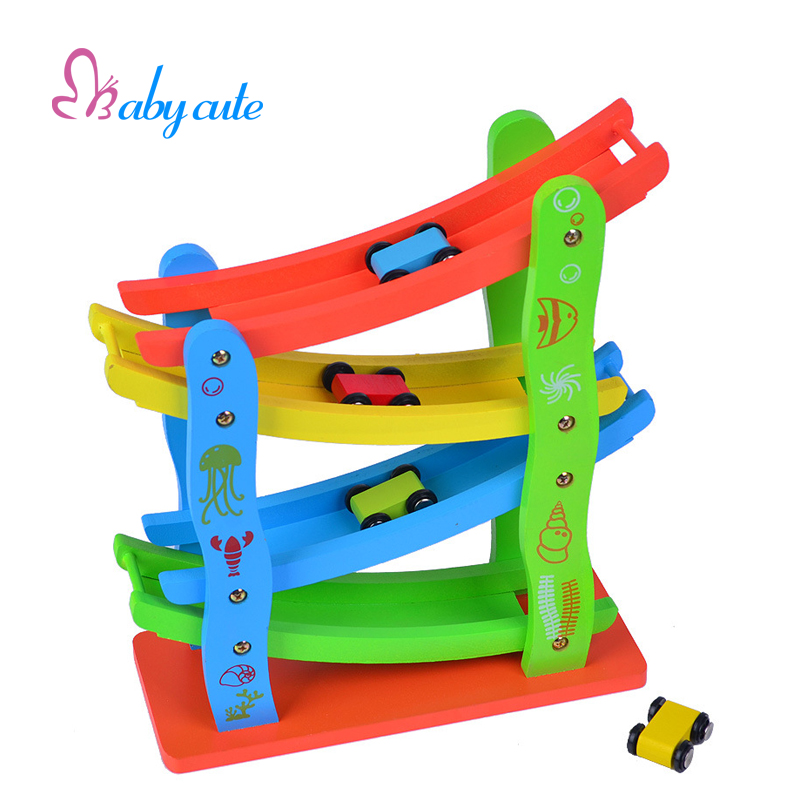 Kids Gliding Car Toys Wooden Roller Coasters Four Layers Ladder Baby Diecasts Toy Vehicles Block Toys Mini Speeding Car