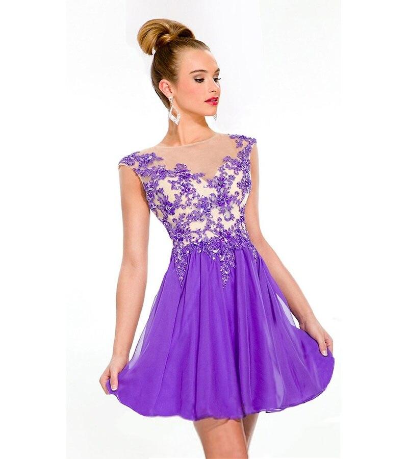 Moda 2017 vestidos cortos del regreso al hogar púrpura espalda ...
