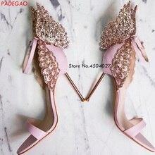 dc748405c449 Pink Butterfly Wings Bride Wedding Shoes Sexy Open Toe Women Pumps Buckle  Strap High Heels Women