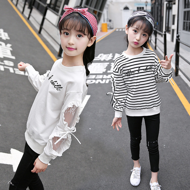 e5a6e0f56616 Girls Long Sleeve Tops Striped T Shirts 2019 Spring Lace Blouse Top Girl  Cotton T-shirt Letter Girls Clothes 6 8 12 Kids Tshirts
