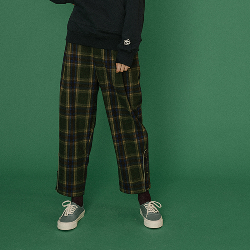 New Design Plaid High Waist Women Spring Ankle length Pants Trousers Casual Straight Pants Button Decoration