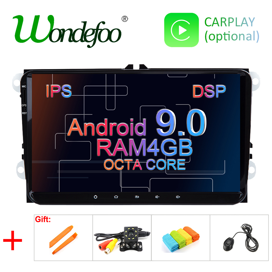 wondefoo IPS DSP 4G Android 9.0 2 DIN Car GPS PLAYER for Seat Altea Toledo VW GOLF
