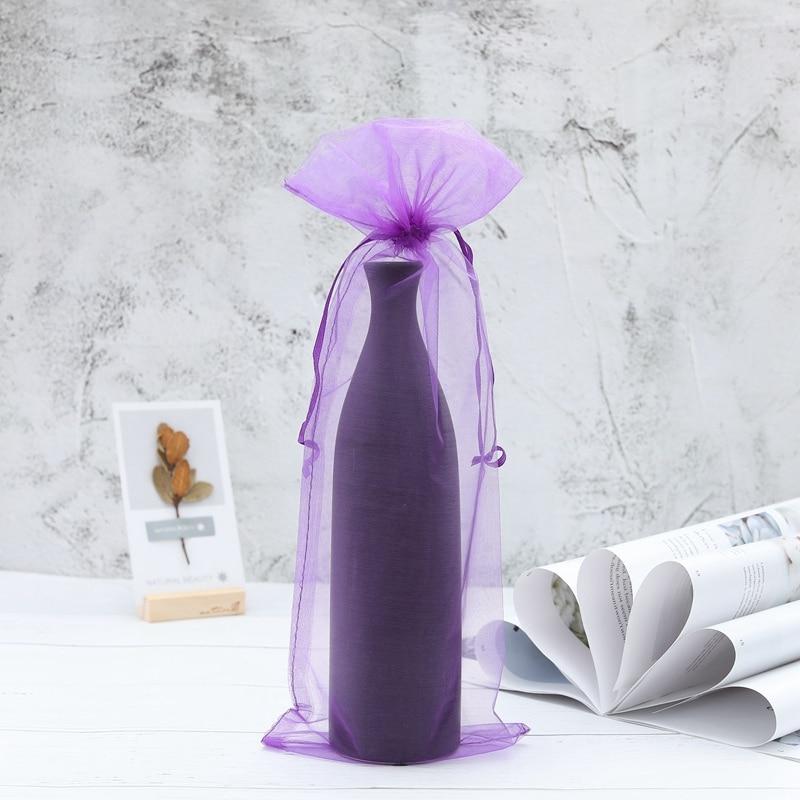 10 x Sheer Organza Wine Bottle Gift Bags for Present Weddings Party Kitchen Storage & Organisation Wine
