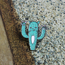 Funny Cactus with Face Cat Pins