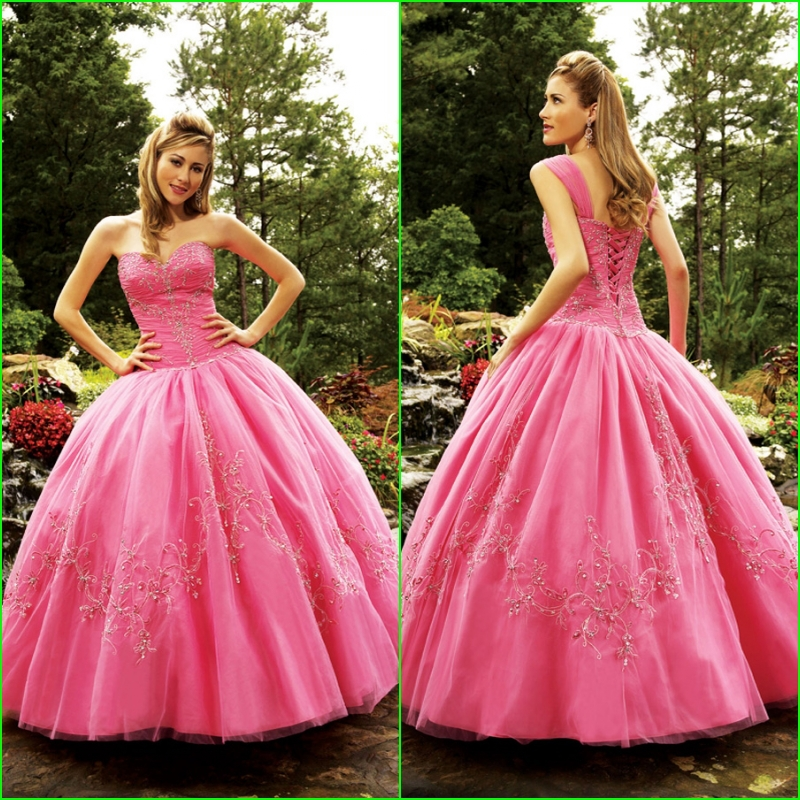 2014 más bellas rosado bordado estilo occidental vestidos ...