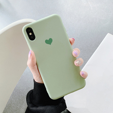 HKGK 2019 Matcha Green Matte Love Heart Cases For iPhone 6 6S 7 8 6S Plus 7Plus 8Plus X XS MAX XR Soft Case For iPhone X Cover цена
