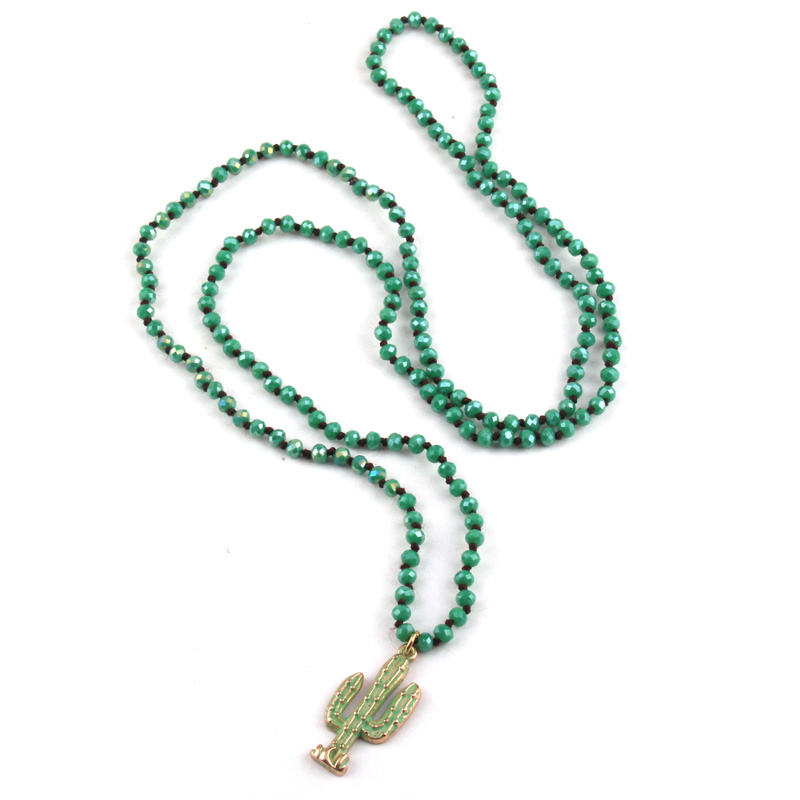 Fashion Bohemian Tribal Jewelry Mini Green Crystal Glass Knotted Green Epoxy Cactus Charm Pendant Necklaces