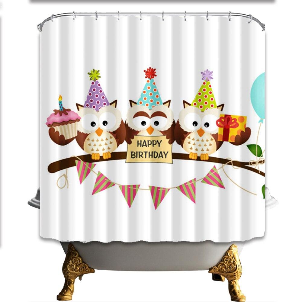 Owl Happy Birthday Designed Cute Shower Curtain Waterproof ...