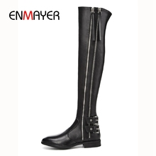 ENMAYER  New Fashion women over-the-knee square heel boots lady fashion round toe zip Size 34-39 ZYL822
