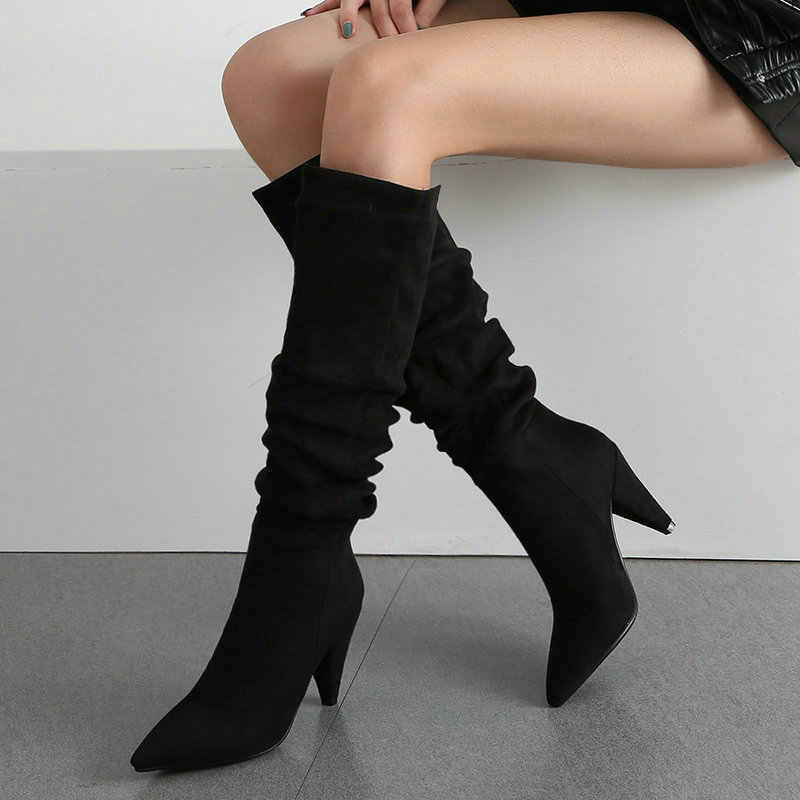 2020 bayanlar Slouch kırışıklık çizmeler siyah kırmızı kahverengi sivri kalın kafa çizmeler kadın moda süet deri diz yüksek çizmeler kış