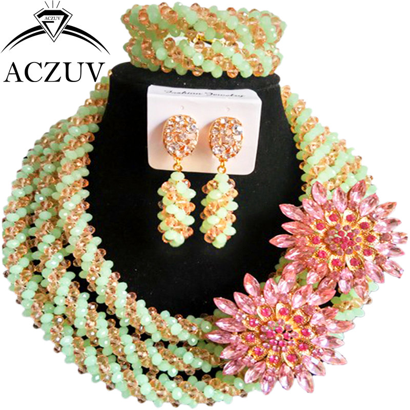ACZUV Chunky Mint Green and Peach Crystal Beaded African Beads Nigerian Necklace Bridal Wedding Party Jewelry Sets A3R005ACZUV Chunky Mint Green and Peach Crystal Beaded African Beads Nigerian Necklace Bridal Wedding Party Jewelry Sets A3R005
