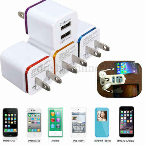 USB Charger, 2.1A/5V Dual 2-Port USB Block Charger Wall Plug Power Adapter