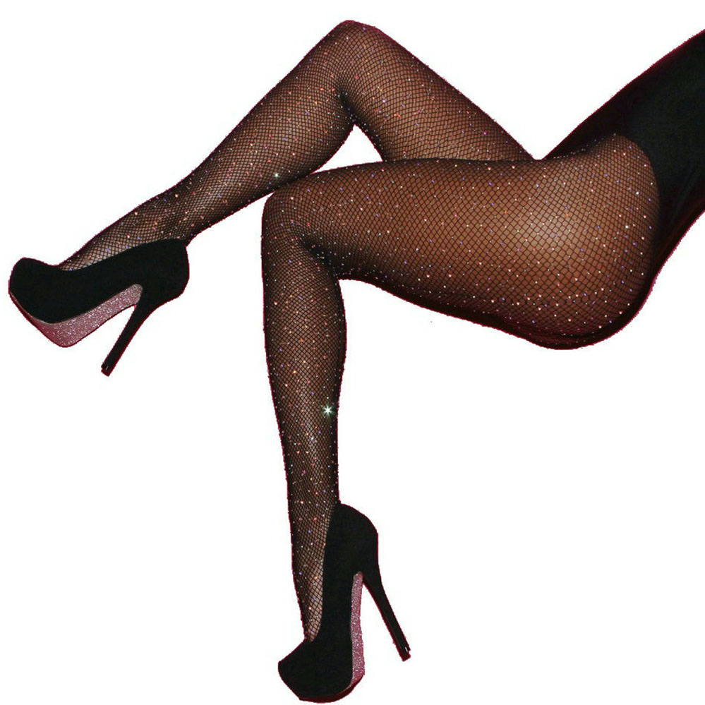 0090a481f7d Sexy Women Fishnet Stockings Shiny Crystal Rhinestone Mesh Stocking Tights  Pantyhose Black Brown Red Blue Mesh Fishnet Pantyhose