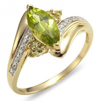 Super Jewelry Fashion Size7 8 9 New R012YGP Lady S Breathtaking Green Peridot Cz 18K Yellow