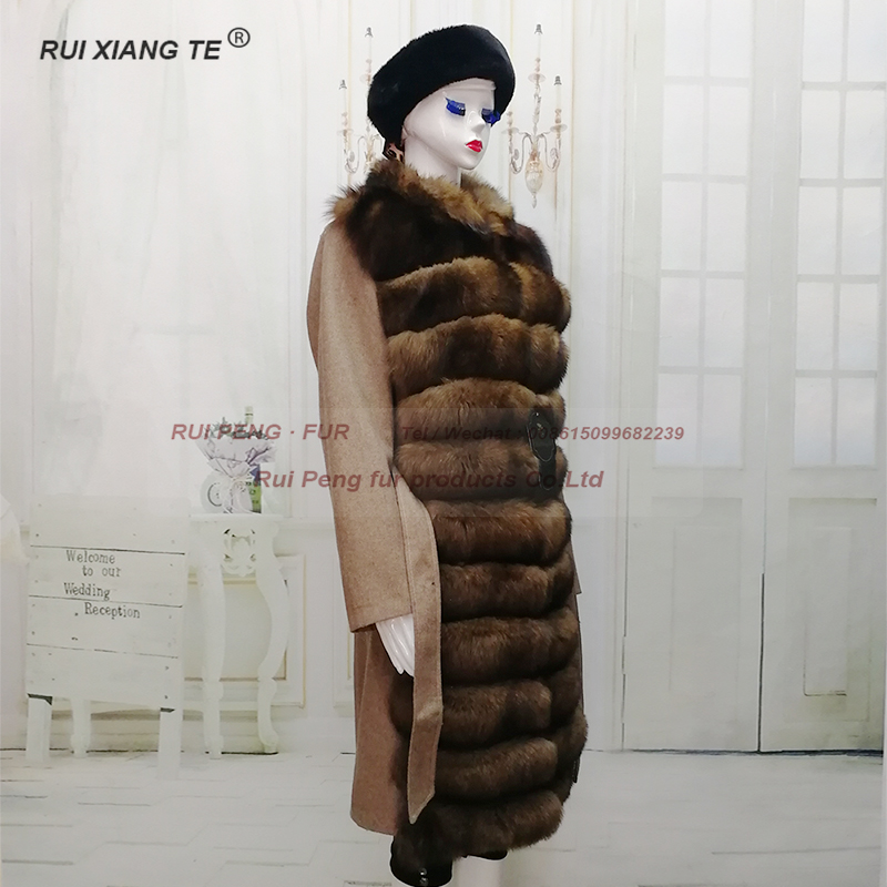 fashion trend women real fur coat woolen fur coat with natural fox collar real fox sable color genuine fur jackets fur for women