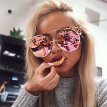 TESIA cateye Sunglasses Women Oval Big Frame Mirror Glasses For Drive Party Rose
