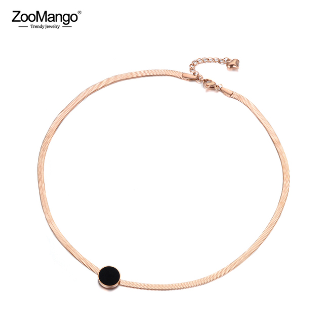 ZooMango Trendy OL Style Black Acrylic Disc Titanium Stainless Steel Snake Chain Thin Necklaces For Women Rose Gold ZN18066