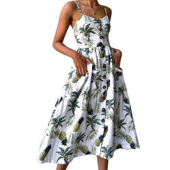 women's sexy summer dress 2018 bohemian backless sleeveless Plus size button print floral dress off-shoulder party sundress blue floral print off shoulder maxi dress