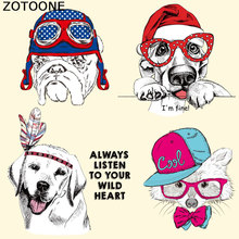 ZOTOONE Cartoon Dog Patches Heat Transfer Patch for Clothes Decoration DIY Stripes Iron Custom Stickers Applique T-shirt