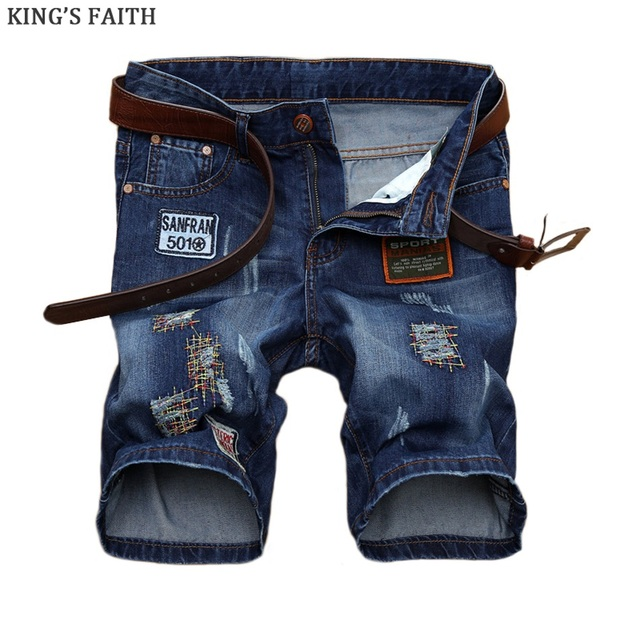 7cf5352fbf44 Königs Glauben Marke Männer Sommer Knielangen Kurze Jeans Patches 2017 New  Fashion Mens Casual Denim Silm