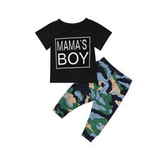 Cool Toddler Infant Baby Boy Clothes Set Casual T-shirt Tops Camouflage Long Pants Outfits Clothing