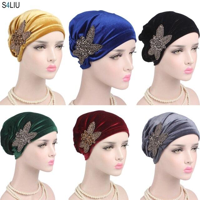 Gorra India musulmana para mujer, gorro de terciopelo para mujer, gorro turbante de quimio con cuentas, sombreros de flores, gorro de cáncer interior elegante