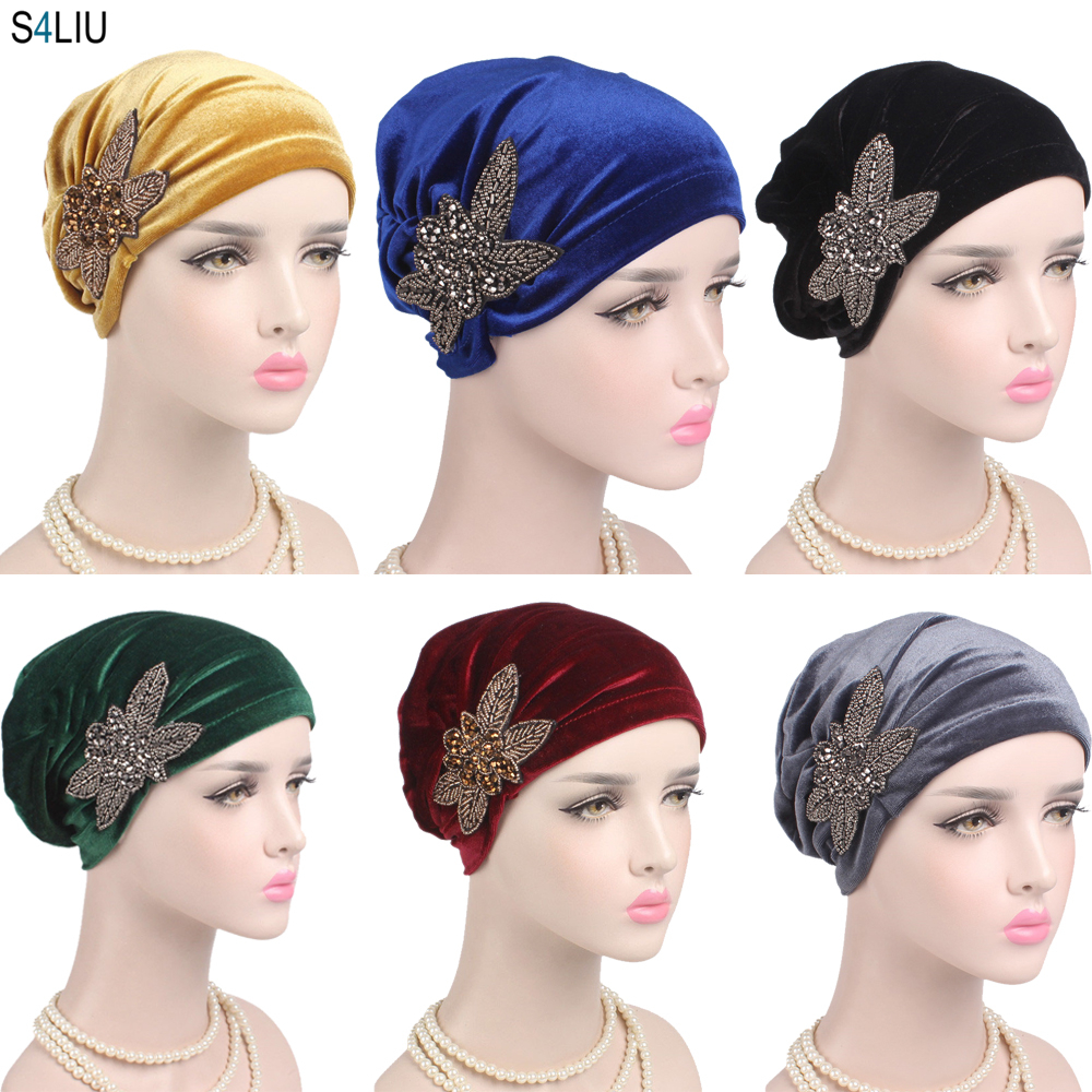 Women Muslim India Cap Ladies Velvet Hat Beanie Skullies Turban Chemo Cap With Beads Flower Headwear Cancer Hat Inner Elegant