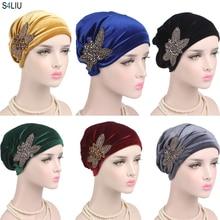 Women Muslim India Cap Ladies Velvet Hat Beanie Skullies Turban Chemo Cap With Beads Flower Headwear Cancer Hat Inner Elegant
