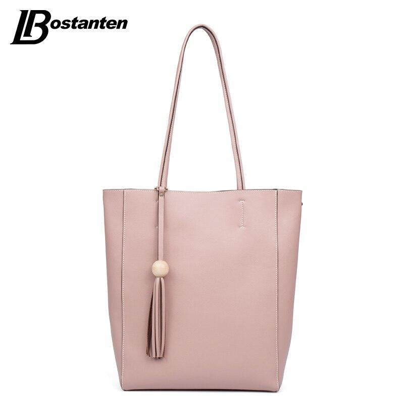 ФОТО BOSTANTEN 2016 Casual Women Shoulder Bags Famous Brand Fashion Designer Handbag Solid Composite Bag Women Totes Ladies Hand Bags