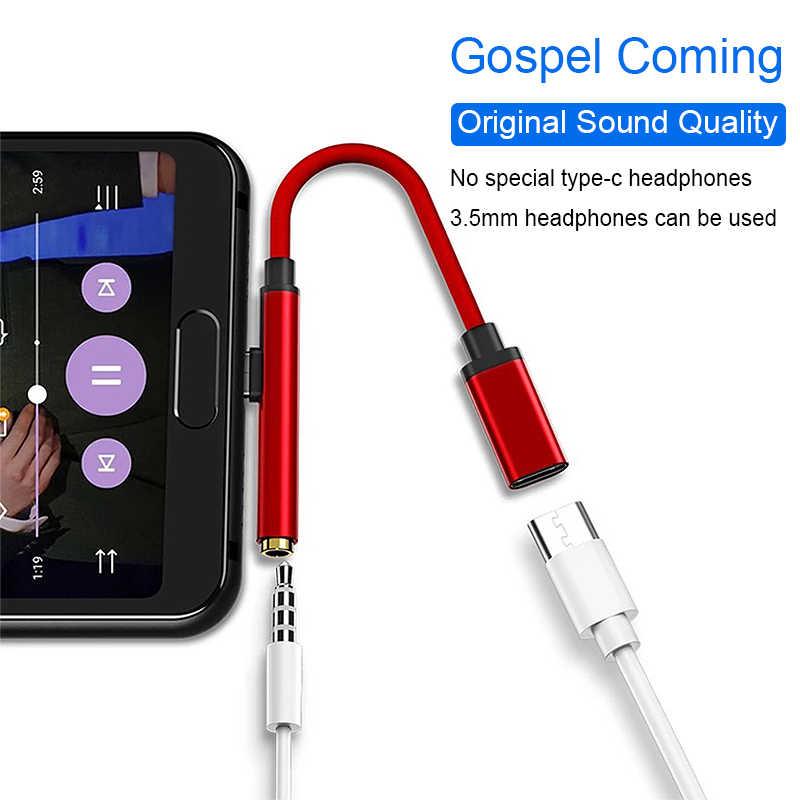 Tipe-C Kepada 3.5 Mm Jack Telepon Kepala AUX Kabel Audio 2 In 1 USB Tipe C Adaptor Charger Kabel untuk Xiaomi Samsung S8 Catatan 9 HTC Huawei