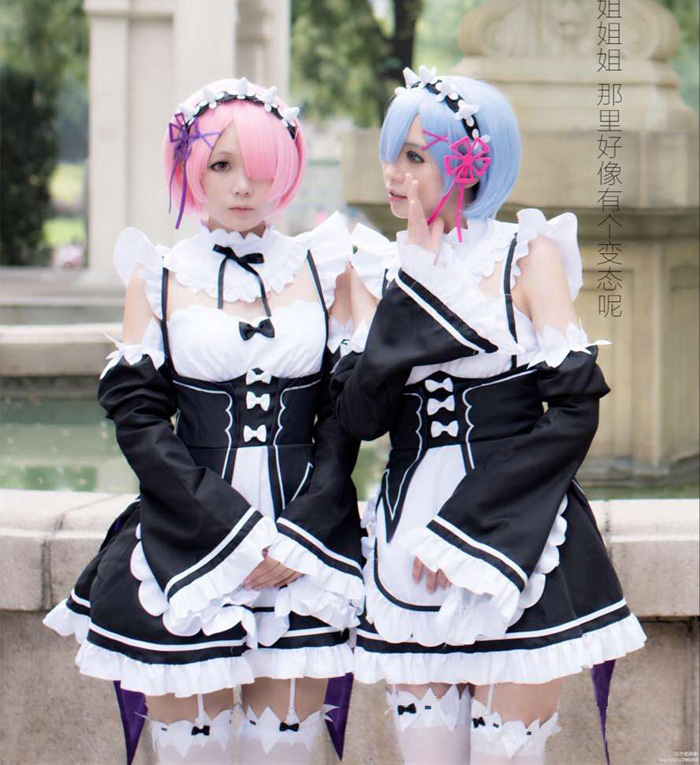 Anime Re:zero Kara Hajimeru Isekai Seikatsu Life In A Different World Re Zero Cosplay Ram Rem Maid Apron Dress  Cosplay Costume