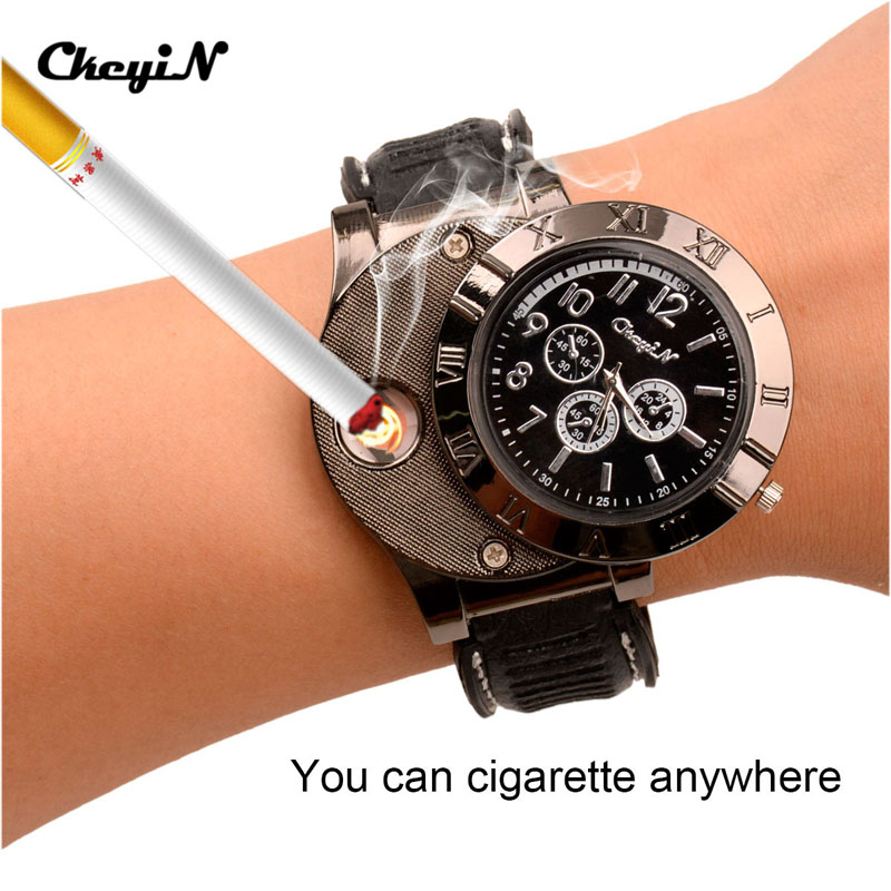 5Pcs/Lot Ligter Watch Windproof Casual Military Quartz Watch USB Cigarette Cigar Flameless Lighter Men Women Wristwatches 3233 lighter watch men s sports casual quartz watches with leather strap windproof flameless cigarette lighter usb charging f665
