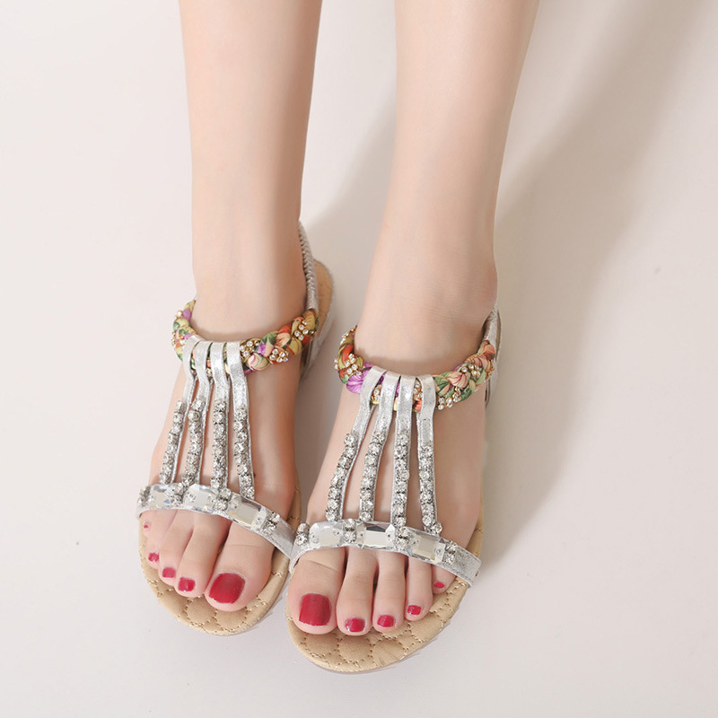397db3675 Bling Designer Crystal Sandals Women Open Toe Beach Sandals Summer Gold Silver  Flip Flops Flats Shoes Women Beaded Slippers-in Low Heels from Shoes on ...